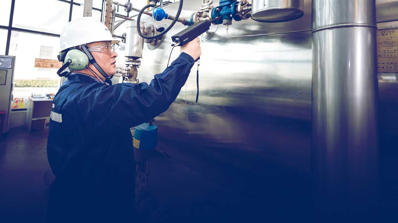 Engineer checking machinery