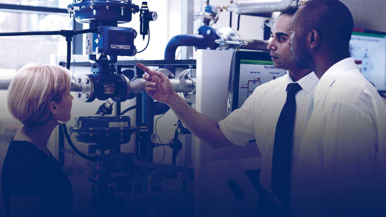 Engineer demonstrating equipment